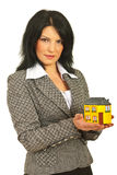 Real estate woman holding home Stock Photos