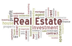 Real Estate Word Cloud. Concept illustration, isolated on white background. Eps file available Royalty Free Stock Images