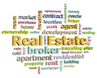 Real estate word cloud angle to the right Stock Photo
