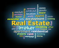 Real estate word cloud on black background with blue glowing light facing left Royalty Free Stock Photo