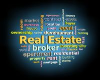 Real estate word cloud on black background with blue glowing light Royalty Free Stock Photos