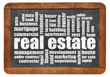Real estate word cloud on blackboard. Real estate word cloud - white chalk text on a vintage slate blackboard isolated on white royalty free stock image