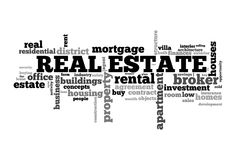 Real estate word cloud. Concept image Royalty Free Stock Images