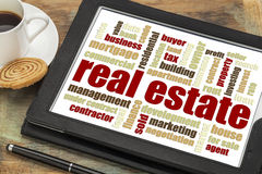 Real estate word cloud on tablet. Real estate word cloud on a digital tablet with a cup of coffee royalty free stock photography