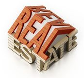 Real estate word in house shape. 3D illustration.  Royalty Free Stock Images