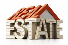 Real estate word in house shape. 3D illustration.  Stock Image