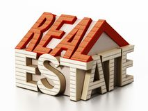 Real estate word in house shape. 3D illustration.  Stock Images