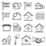 Real Estate zeichnen die eingestellten Ikonen Lizenzfreies Stockfoto