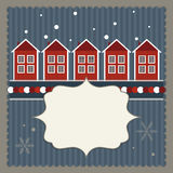 Real Estates Card With Red And White Scandinavian Houses. Stock Photography
