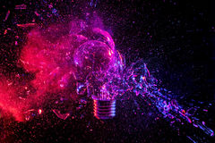 Bulb glass explosion. Real explosion of vintage electric bulb high speed photography Royalty Free Stock Images