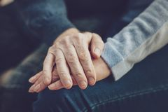 Close up of hands being held together royalty free stock photography
