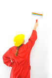 Real female painter renovating her apartment Stock Image