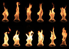 Real fire ball collection isolated. On black background royalty free stock image