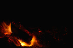 real fire flames in dark Royalty Free Stock Photos