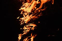 Real fire with flames isolated - stock photograph royalty free stock photos