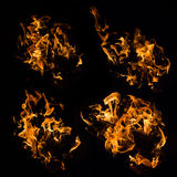 Real fire flames samples isolated on black Royalty Free Stock Image