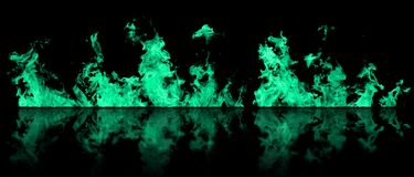 Real line of fire flames with reflection isolated on black background. Mockup on black of wall of fire. Real fire line flames with reflection isolated on black royalty free stock photography