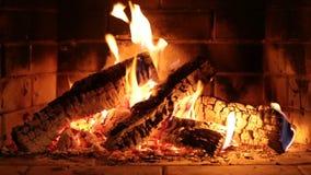 Real fireplace closeup stock video footage