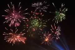 Real fireworks in the night sky. Photo from New Year`s Eve real fireworks in the night sky Stock Images