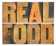 Real food in letterpress wood type Stock Images