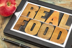 Real food in wood type Stock Photo