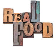 Real food word abstract in wood type Royalty Free Stock Images