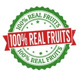 100% Real fruits sign or stamp. On white background, vector illustration royalty free illustration
