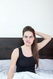 Real funny face captured in crazy moment in bedroom Stock Photography