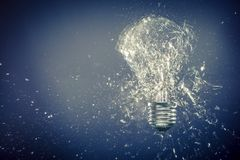 Real glass bulb explosion. High speed photography of real glass bulb explosion stock image