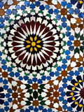 Italian mosaic detail - bright colours. Real glazed tile mosaic in Italy Royalty Free Stock Photography