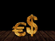 Real Gold with Dollar and Euro Symbolism Royalty Free Stock Photography