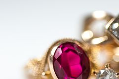 Real gold rings with gem. Real gold rings with gem close up shot  on white background Stock Images