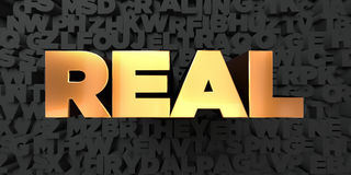 Real - Gold text on black background - 3D rendered royalty free stock picture Royalty Free Stock Photos