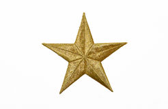 Real Gold Yellow Star. Isolated on white background Royalty Free Stock Image