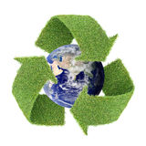 Real Grass Recycle Symbol With Globe Stock Photo