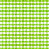 Real green checkered fabric tablecloth Royalty Free Stock Image