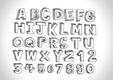 Real Hand drawn letters font written with a pen Royalty Free Stock Image