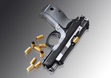 Real hand gun pistole 9mm  Royalty Free Stock Photos