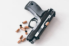 Real hand gun pistole 9mm  Royalty Free Stock Image
