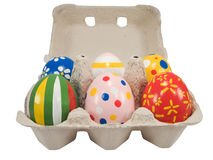 Real hand painted Easter eggs Stock Photos