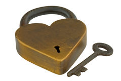 Real heart lock and key isolated Stock Images