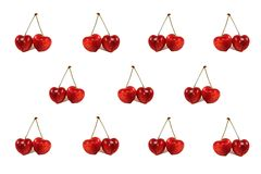 Real heart shaped cherries background for valentin Stock Photography