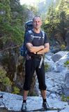 Real hiker in the canyon Royalty Free Stock Photography
