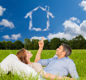 Real home. Real estate dreaming couple of new home Stock Photo