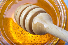 Real honey. In a jar  on white Stock Photos