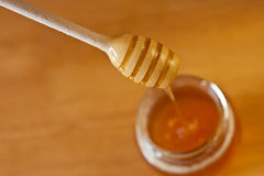 Real honey with stick. Real honey in a jar. Artistic selective focus Stock Photos