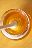 Real honey with stick. Real honey in a jar. Artistic selective focus Royalty Free Stock Photography