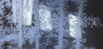 Real snowflake frosted on windows royalty free stock image