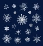 Real ice snow crystals macro compilation Royalty Free Stock Images