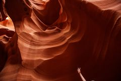 Real images of the lower Antelope canyon in Arizona, USA.  Royalty Free Stock Photography